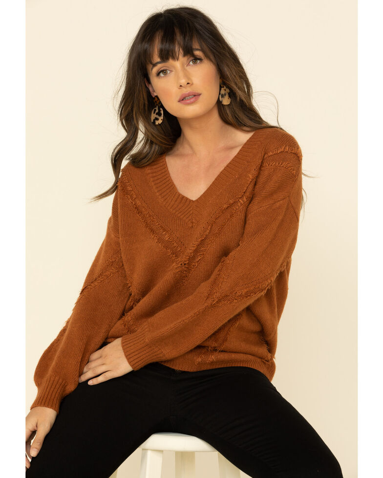 Mystree Women's Rust Distressed Ribbed Sweater , Rust Copper, hi-res