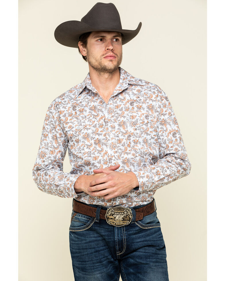 Rough Stock By Panhandle Men's Wimberly Paisley Print Long Sleeve Western Shirt , White, hi-res