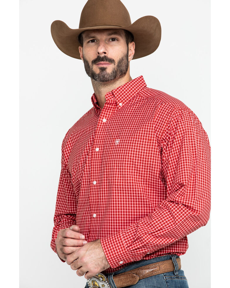 Ariat Men's Newport Small Plaid Long Sleeve Western Shirt - Tall , Red, hi-res