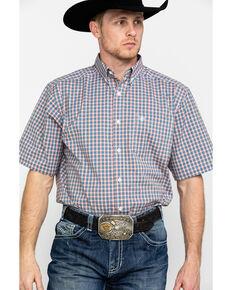 Ariat Men's Stanley Stretch Small Plaid Short Sleeve Western Shirt , Tan, hi-res