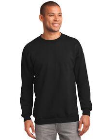 Port & Company Men's Jet Black Essential Fleece Crew Work Sweatshirt - Tall , Jet Black, hi-res
