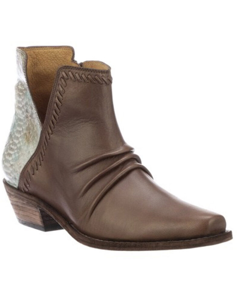 Lucchese Women's Jodie Western Booties - Snip Toe, Chocolate, hi-res