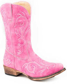 Roper Girls' Pink All Over Embroidery Western Boots - Square Toe, Pink, hi-res