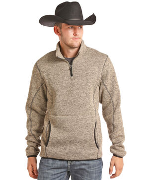 Powder River Outfitters Men's Pullover Solid Duck Quarter Zip, Tan, hi-res