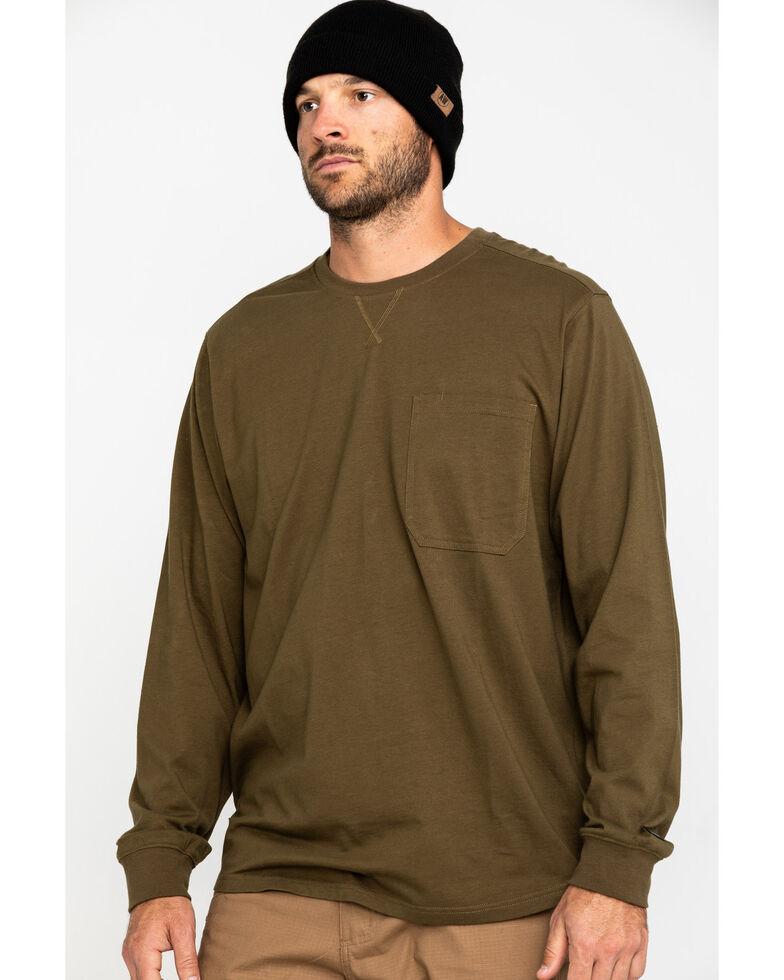 Hawx Men's Olive Pocket Long Sleeve Work T-Shirt - Tall , Olive, hi-res
