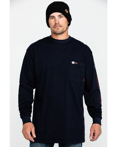 Cinch Men's FR Logo Long Sleeve Work T-Shirt , Navy, hi-res