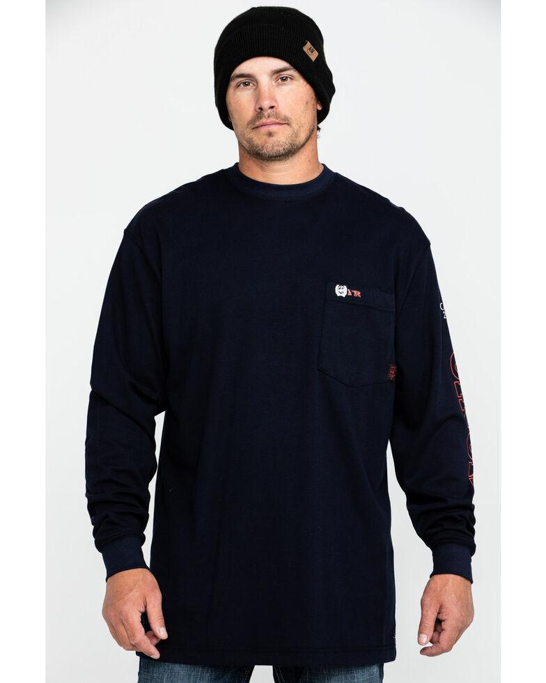 Cinch Men's FR Logo Long Sleeve Work T-Shirt , Navy, hi-res