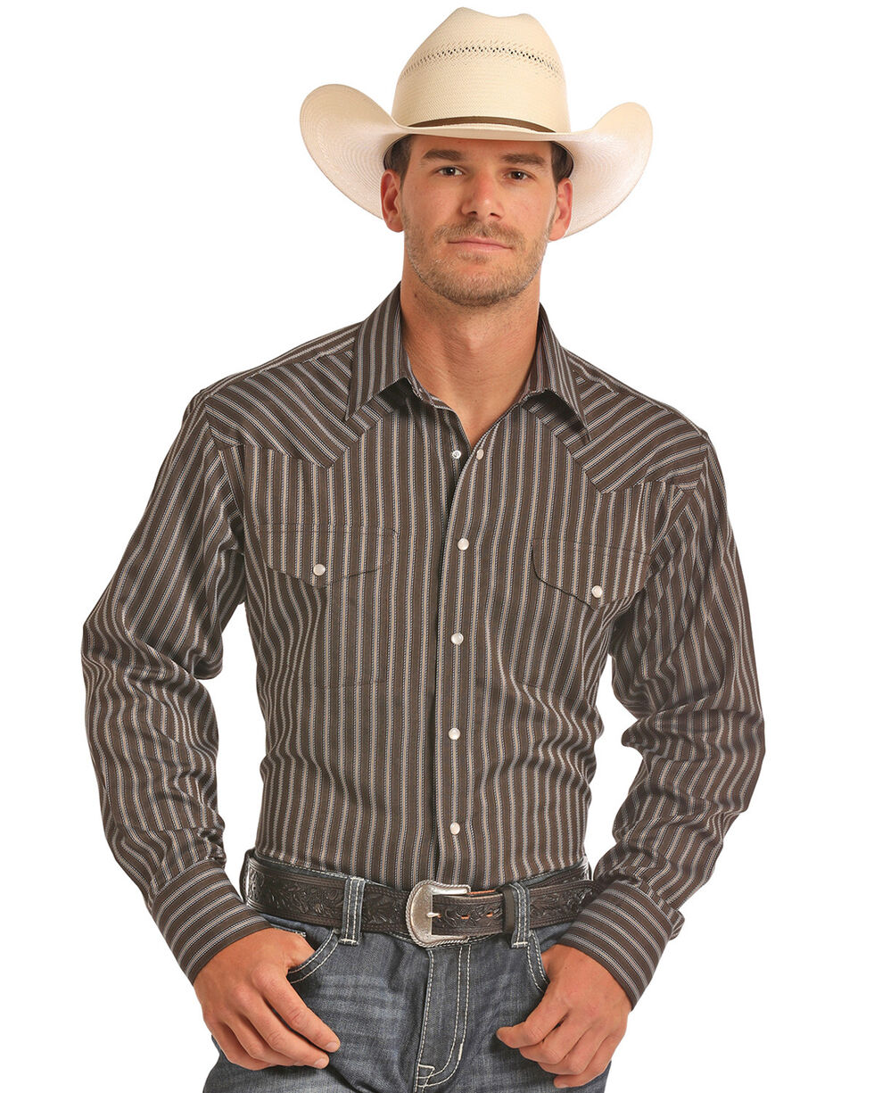 Panhandle Men's Brown Satin Dobby Stripe Shirt, Brown, hi-res