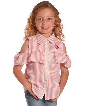 Idol Mind Girls' Striped Peek-A-Boo Ruffle Shirt, Pink, hi-res