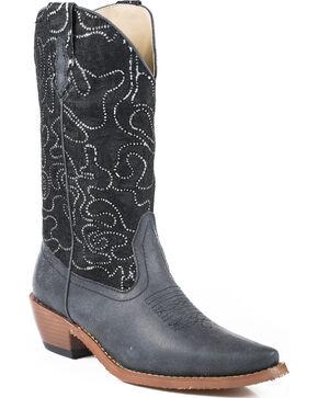 Roper Women's Crystal Lace Shaft Black Western Boots, Black, hi-res