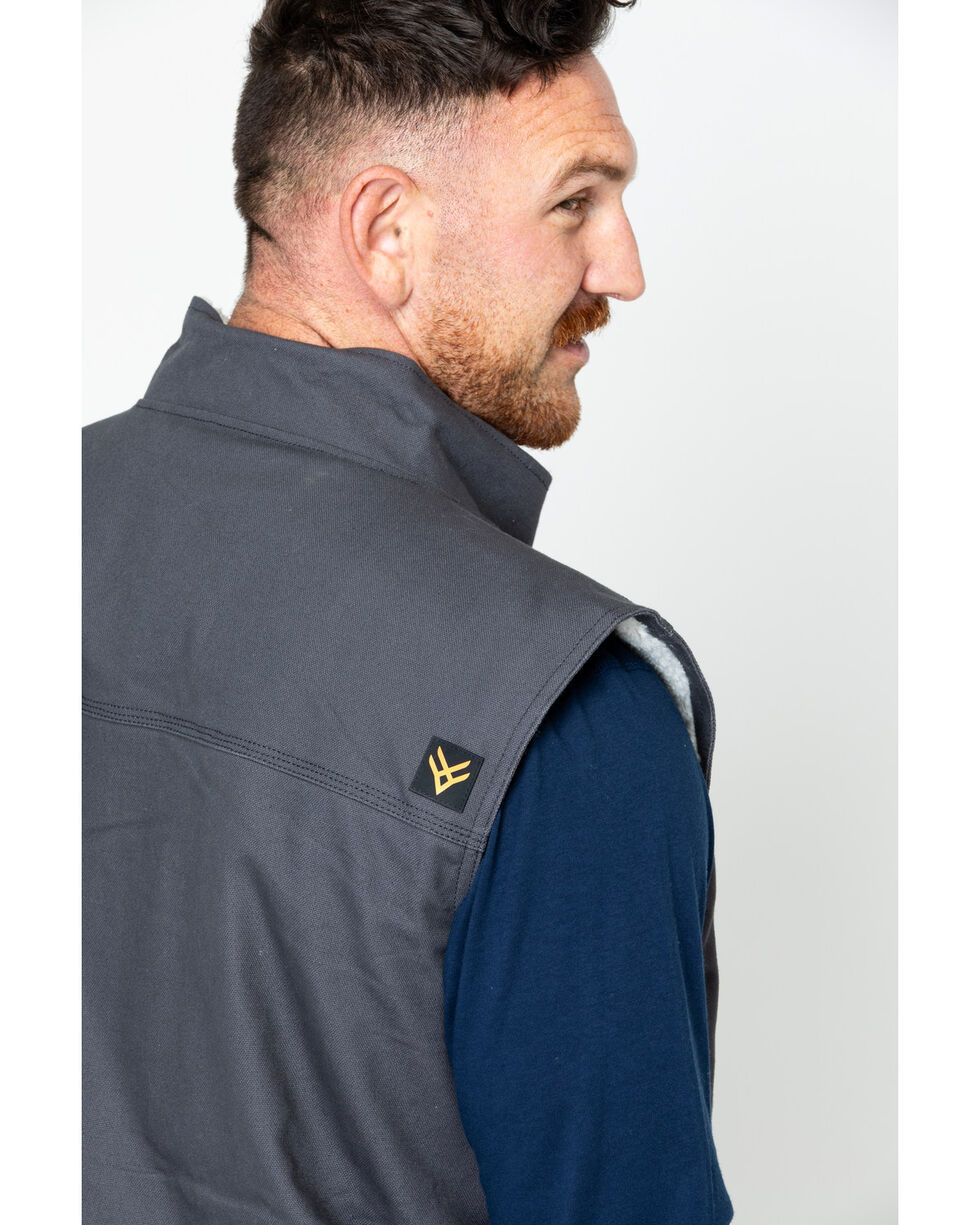 Hawx® Men's Canvas Work Vest - Big & Tall , Charcoal, hi-res