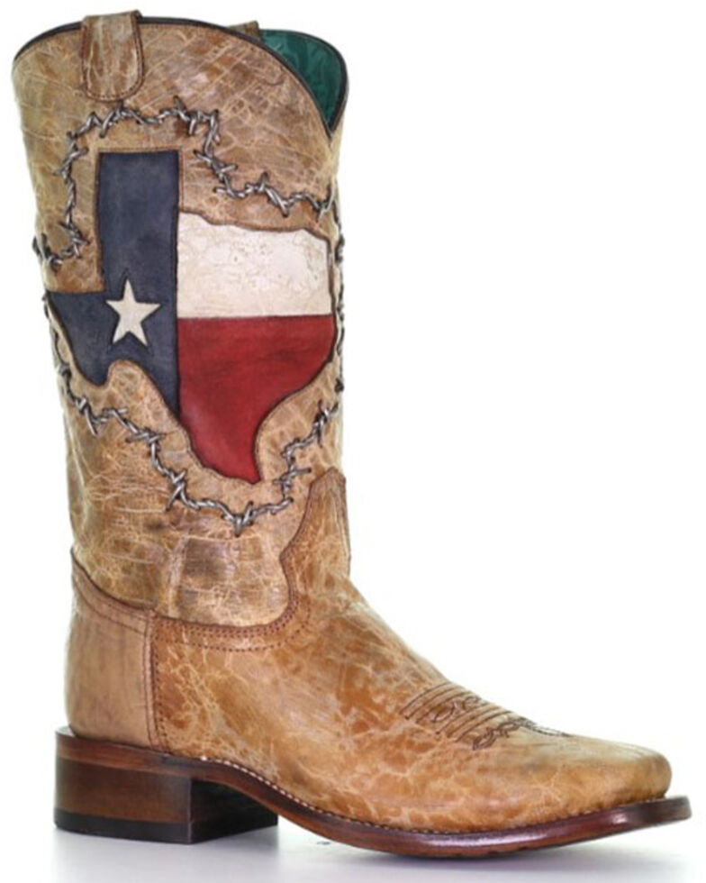 Corral Women's Texas Flag Shaft Western Boots - Wide Square Toe, Brown, hi-res