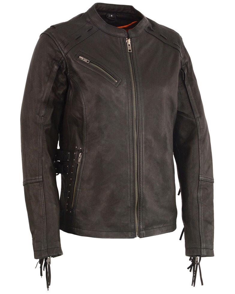 Milwaukee Leather Women's Fringe Lightweight Scuba Racer Leather Jacket - 5X, Black, hi-res