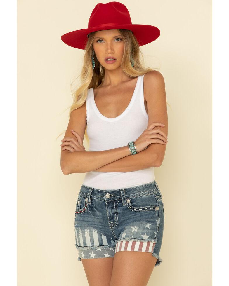 "Miss Me Women's Medium Wash Star & Stripes 3"" Shorts, Blue, hi-res"