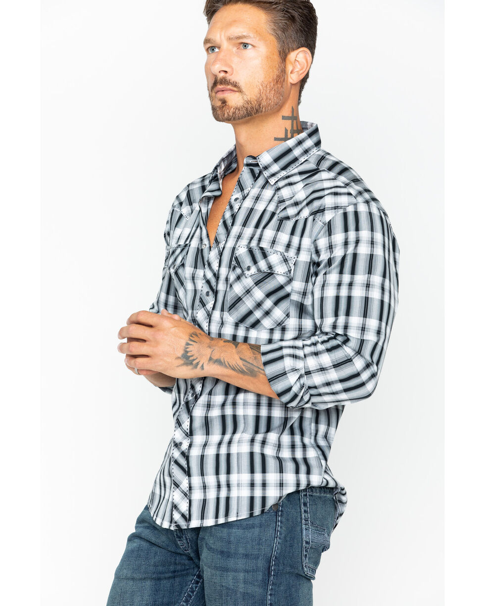 Wrangler Men's Black Fashion Long Sleeve Plaid Shirt , Black, hi-res