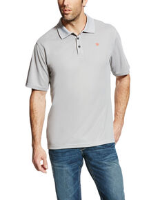 Ariat Men's Silver Tek SPF Short Sleeve Polo - Big, Silver, hi-res
