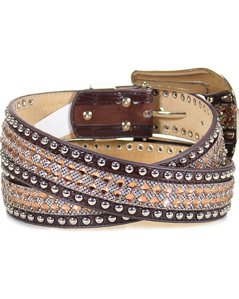 Shyanne Women's Sequin Belt, Brown, hi-res