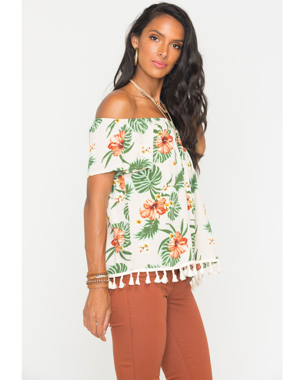 Miss Me Women's Tropical Print Off The Shoulder Top, Khaki, hi-res