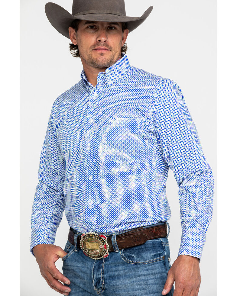 Wrangler 20X Men's Performance Royal Blue Geo Print Long Sleeve Western Shirt , Blue, hi-res