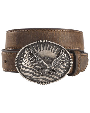 Cody James Boys' Eagle Flag Belt, Brown, hi-res