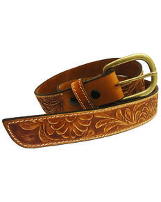 Lyntone Women's Cowgirl Rock Floral Design Belt, Brown, hi-res