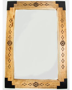 BB Ranch Etched Aztec Wood Mirror, Brown, hi-res