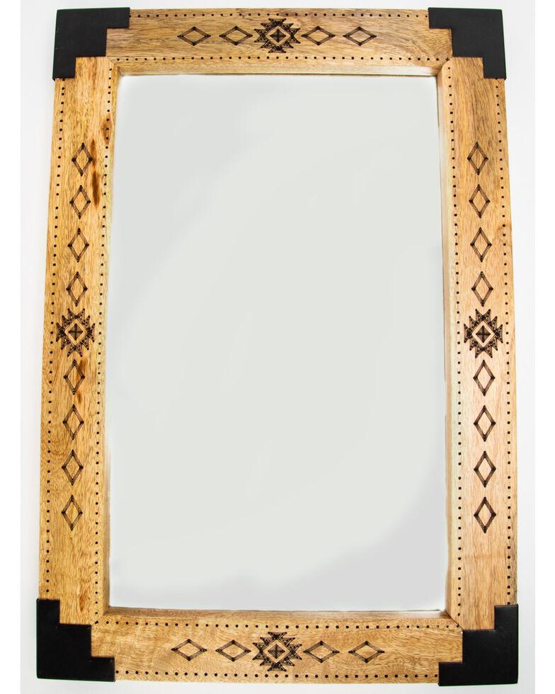 BB Ranch Etched Aztec Wood Mirror, Brown, hi-res