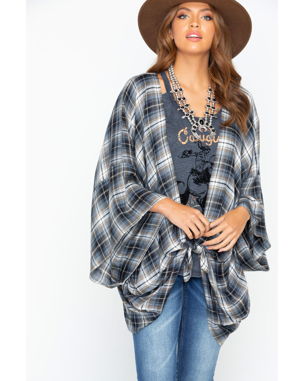 Ivory Love Women's Plaid Wide Sleeve Kimono, Taupe, hi-res