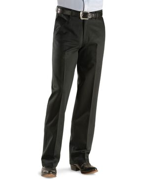 Wrangler Men's Riata Flat Front Relaxed Fit Pants, Black, hi-res