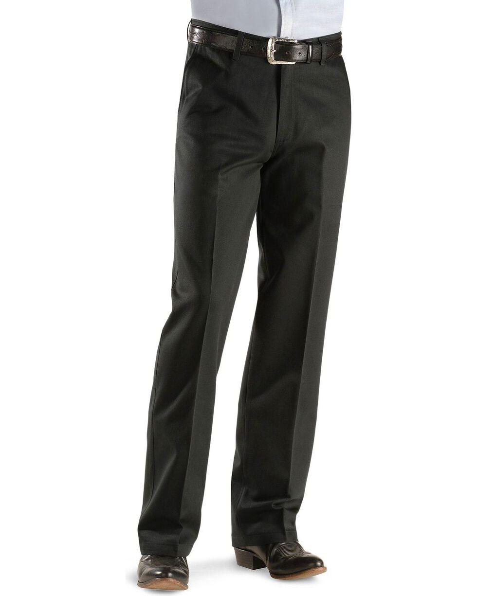 Wrangler Men's Riata Flat Front Relaxed Fit Pants, Black, hi-res