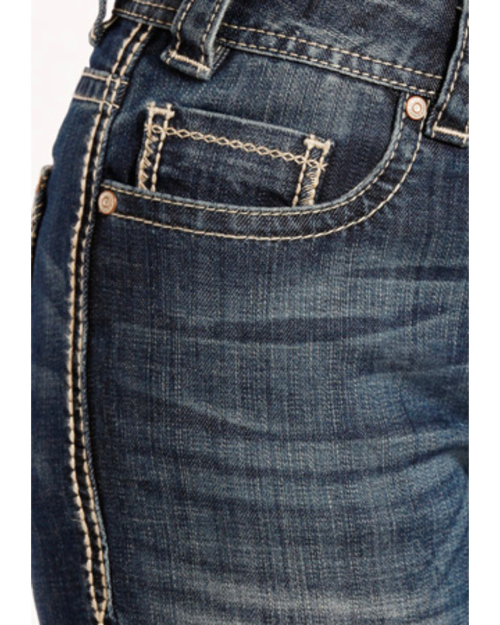 Rock & Roll Cowgirl Women's Blue Angle Stitched Jeans - Boot Cut , Blue, hi-res