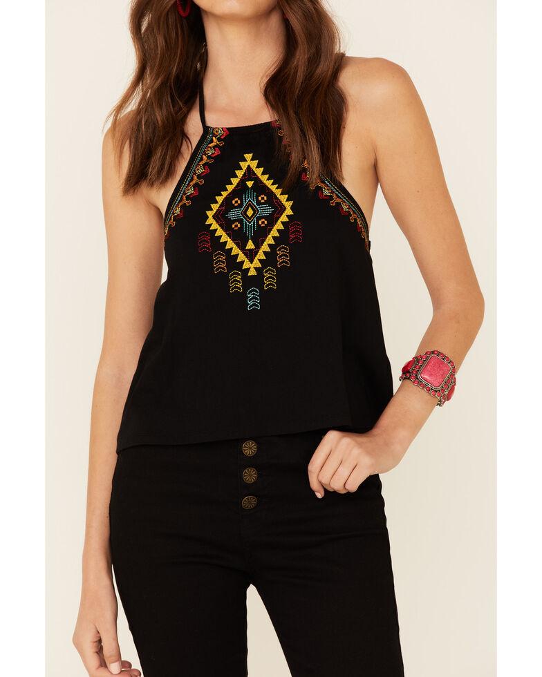 Rock & Roll Cowgirl Women's Black Aztec Embroidered Halter Top , Black, hi-res
