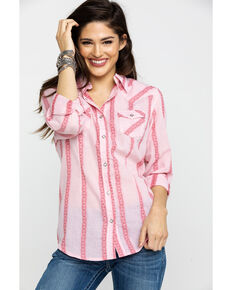 Wrangler Women's Mauv Washed Stripe Core Western Long Sleeve Shirt, Mauve, hi-res
