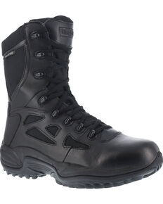 "Reebok Women's Rapid Response 8"" Work Boots - Round Toe, Black, hi-res"