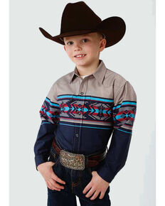 West Made Boys' Aztec Border Print Long Sleeve Western Shirt , Multi, hi-res