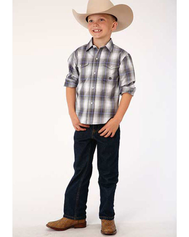 Roper Boys' Amarillo Grey Shadow Plaid Snap Short Sleeve Western Shirt , Grey, hi-res