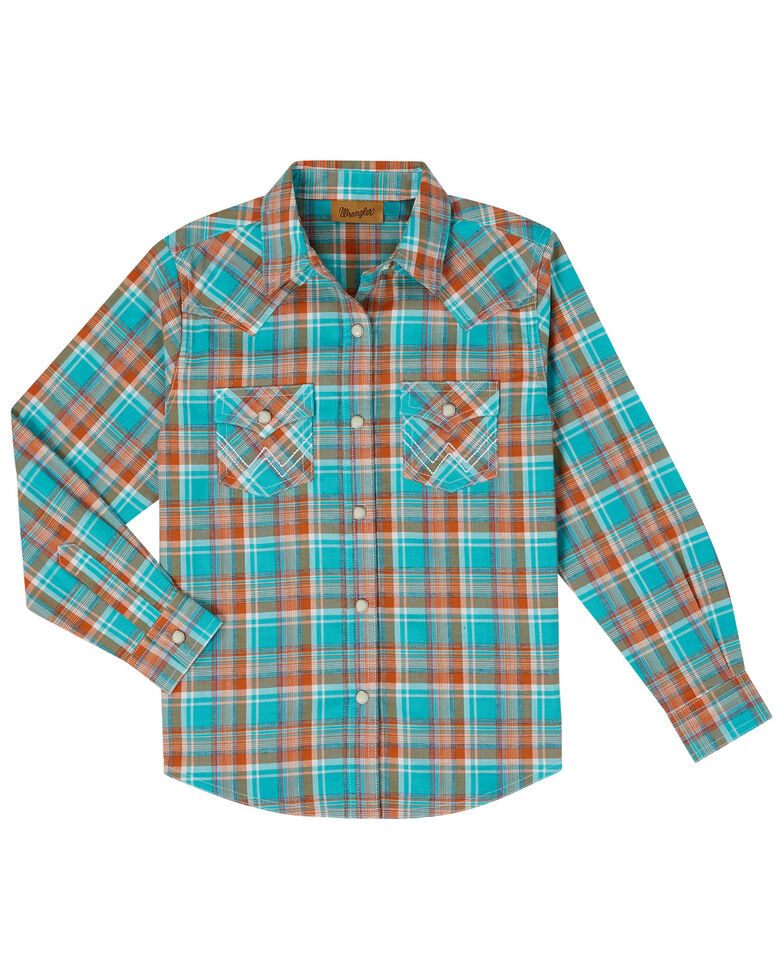 Wrangler Girls' Turquoise Plaid Snap Long Sleeve Western Shirt , Turquoise, hi-res