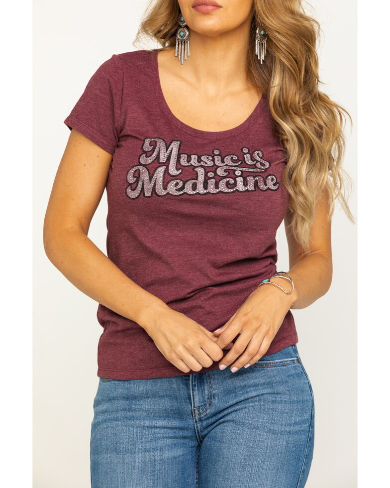 Idyllwind Women's Music is Medicine Rhinestone Trustie Tee, Wine, hi-res