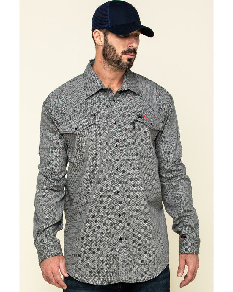 Cinch Men's FR Multi Geo Print Long Sleeve Work Shirt - Big , Multi, hi-res
