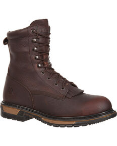 "Rocky Men's Ride Lacer Waterproof Steel Toe 8"" Western Boots, Dark Brown, hi-res"