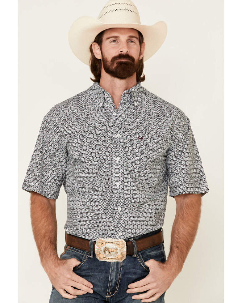 Cinch Men's Arena Flex Multi Geo Print Button Short Sleeve Western Shirt , Multi, hi-res