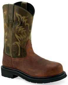 Old West Men's Orange Western Work Boots - Steel Toe, Orange, hi-res