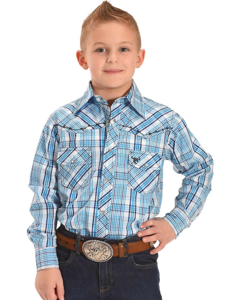 Cowboy Hardware Boys\' Plaid Barbed Wire Long Sleeve Snap Shirt ...