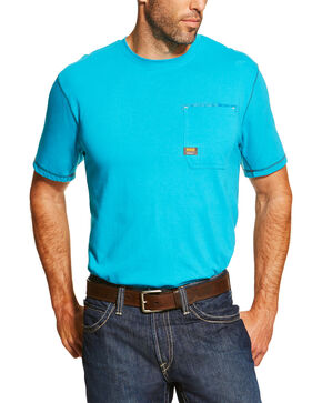 Ariat Men's Rebar Crew SPF Short Sleeve Shirt, Turquoise, hi-res