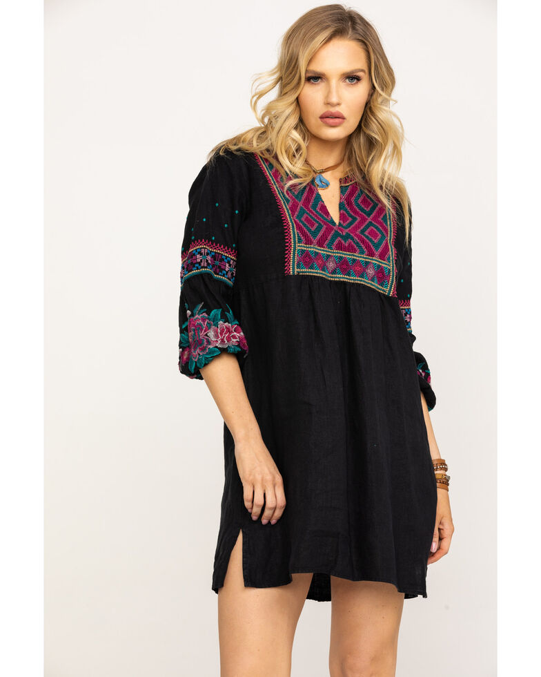 Johnny Was Women's Annaliese Bishop Sleeve Peasant Dress, Black, hi-res