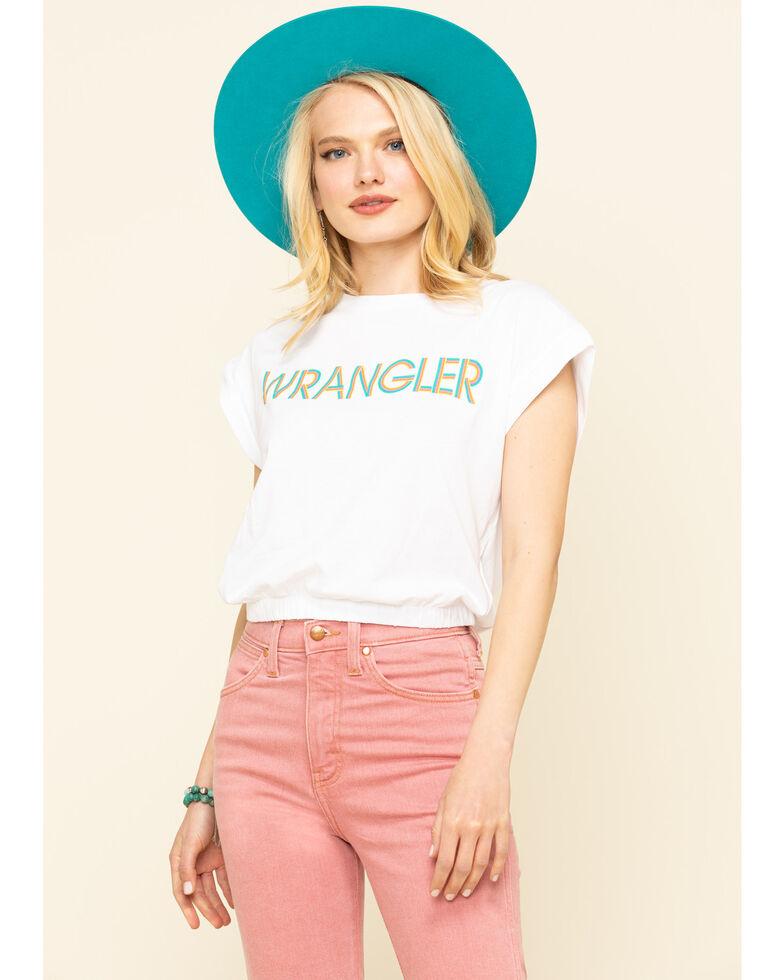 Wrangler Modern Women's White Logo High Rib Cropped Tee, White, hi-res