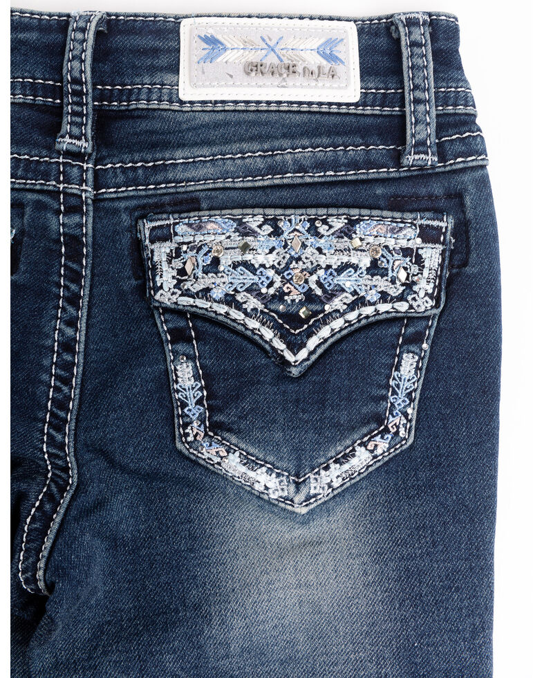 Grace in LA Girls' Dark Wash Flap Embroidered Bootcut Jeans, Blue, hi-res
