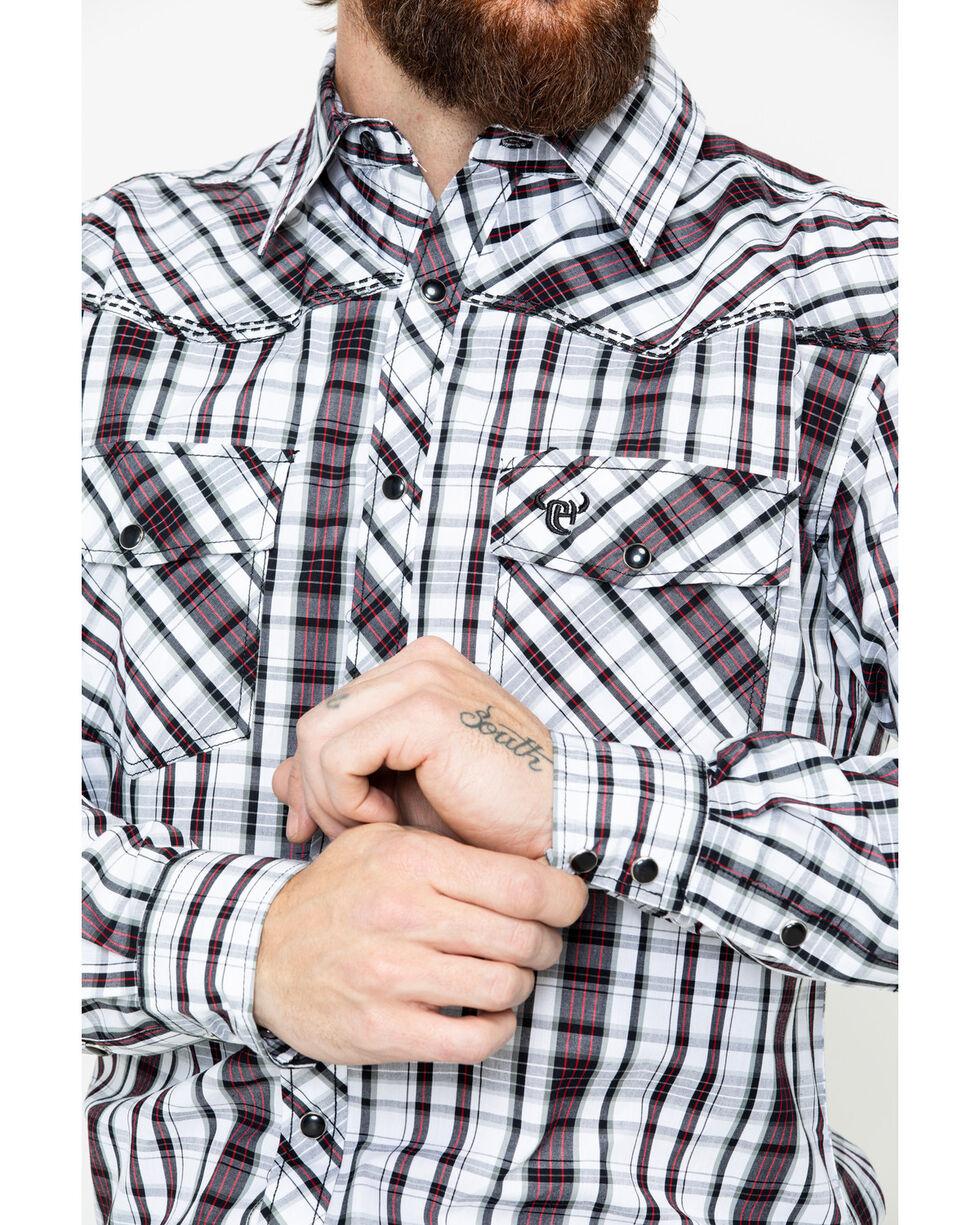 Cowboy Hardware Men's Chili Triple Plaid Long Sleeve Western Shirt , Chilli, hi-res