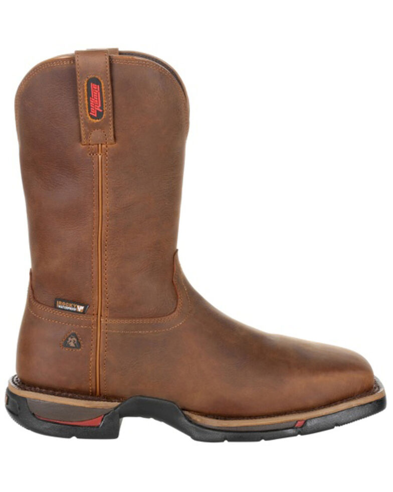 Rocky Men's Long Range Waterproof Western Work Boots - Steel Toe, Brown, hi-res