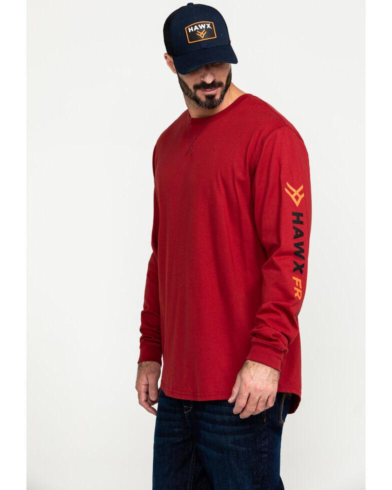 Hawx Men's Flame Resistant Logo Long Sleeve Work T-Shirt, Red, hi-res